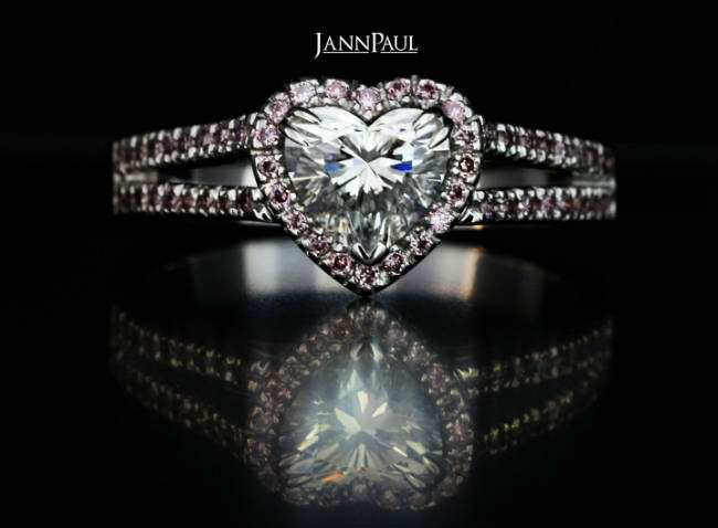 heart-shaped customised diamond engagement ring