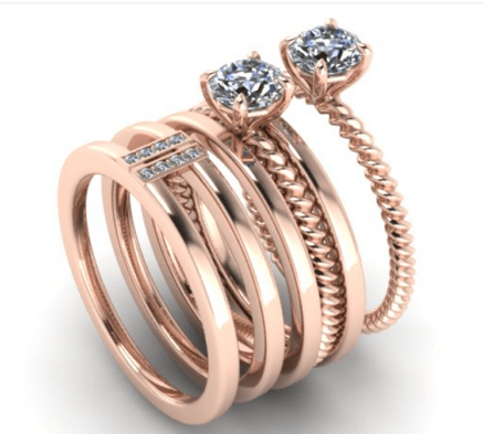 rose gold customised diamond ring designs for proposal engagement-side view-by JannPaul SIngapore